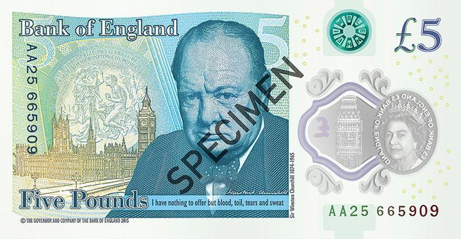 The Churchill fiver in full. Pic: Bank of England