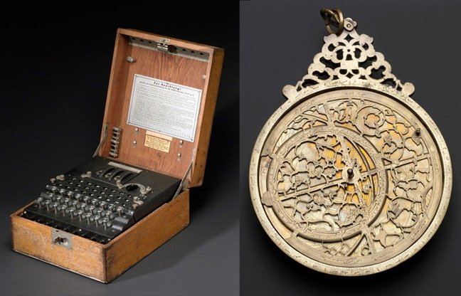 The Enigma machine and astrolabe. Images: Science Museum