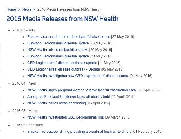 Screen shot - NSW Health