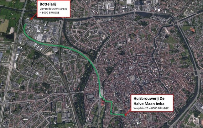 Map of the route of the beer pipeline. Pic: De Halve Maan
