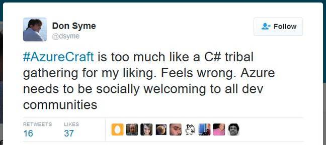 """""""too much like a C# tribal gathering"""" tweets Don Syme"""