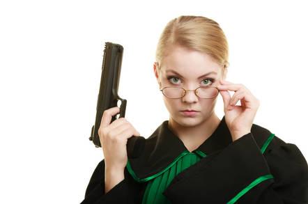 Judge with gun
