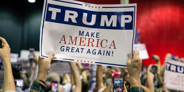 Trump placard, image by Olya Steckel via Shutterstock