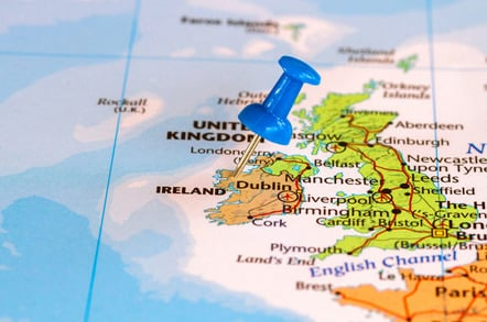 Ireland map, photo via Shutterstock