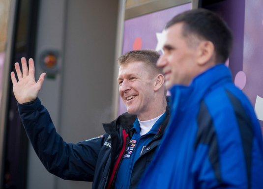 Malenchenko and Peake at Baikonur in December 2015. Pic: