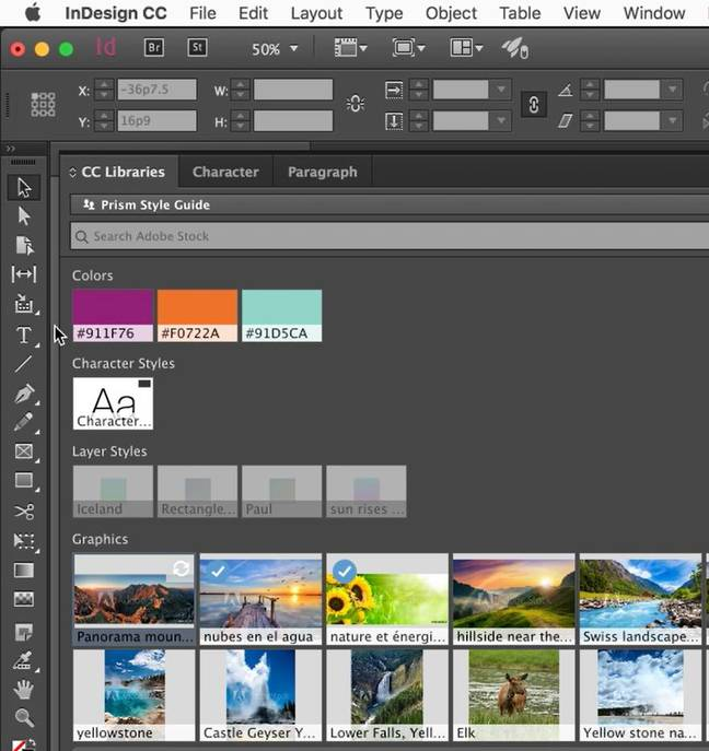 Enhanced library panels improve the integration of Adobe Stock with applications like InDesign