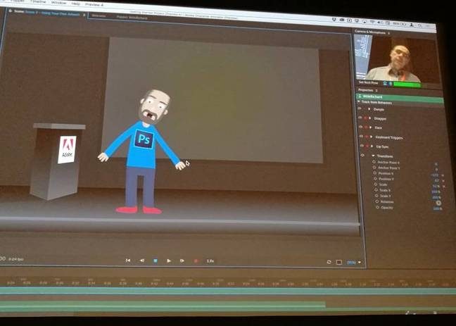 Adobe Character Animation lets an animation mimic a human broadcaster
