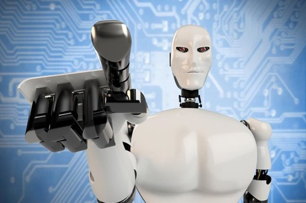 Robot touches screen with finger. Photo via Shutterstock