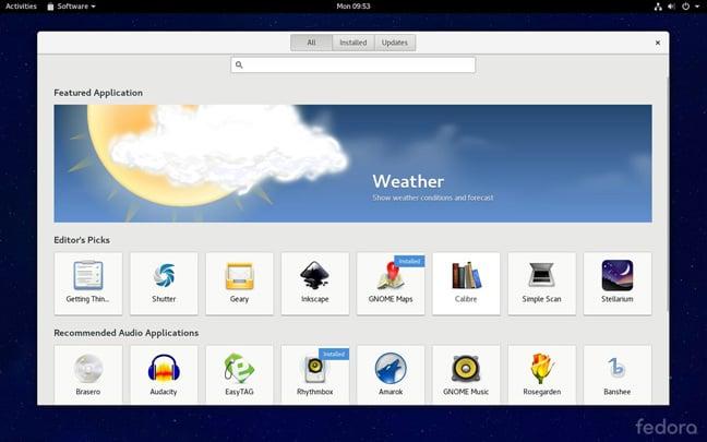 Fedora 24 desktop GNOME software app