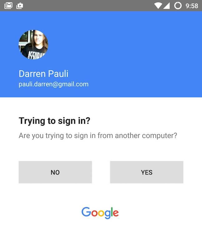 Google 2FA sign-in screen-cap