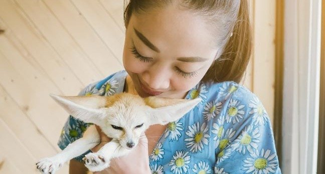 Woman cuddles 'sly-looking' Fennec fox. Photo by Shutterstock