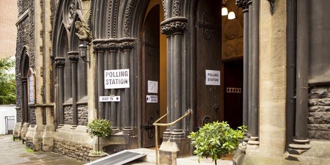 London, United Kingdom - June 23, 2016: British Referendum. A voting station in inner London is the grand entrance to St Matthew's Church. UK is voting to stay or leave the EU. pHOTO Ms Jane Campbell/SHUTTERSTOCK - EDITORIAL USE ONLY