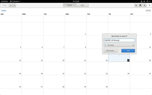 Gnome 3.20 calendar