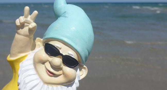 Gnome two fingers, photo via Shutterstock