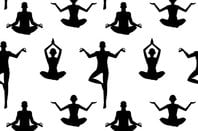 Yoga print - people doing yoga. Image via shutterstock
