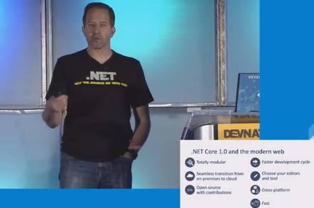 Microsoft's Scott Hanselman demonstrates .NET Core at Red Hat's DevNation event
