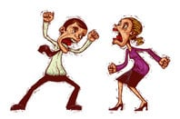 Man and woman argue (cartoon illustration). via Shutterstock