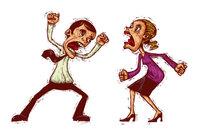 Man and woman argue (cartoon illustration). via Shutterstock