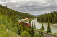 A freight train travels through the Bow Valley - Banff National Park, Alberta, Canada.  Photo by Brian Lasenby via Shutterstock