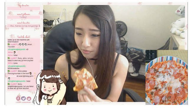 A Twitch streamer eating