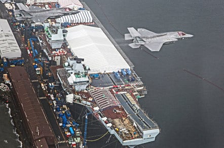 F-35Bs fly past HMS Queen Elizabeth at Rosyth dockyard, Scotland. Crown copyright