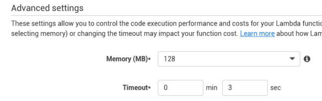Configuring AWS Lambda memory settings
