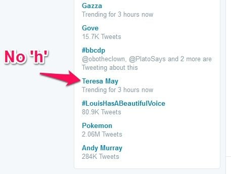 Teresa May trending on Twitter. Theresa – with an H – is the new Prime Minister
