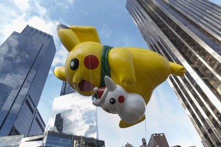 Giant Pikachu Pokemon balloon flown at the 89th Annual Macy's Thanksgiving Day Parade on Columbus Circle. EDITORIAL USE ONLY. Photo credit: Lev Radin / Shutterstock.com