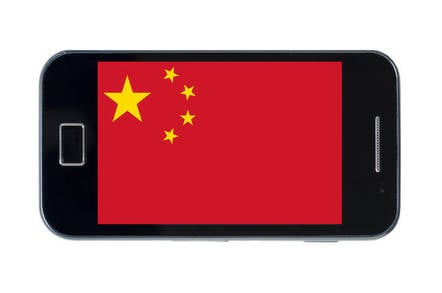 Smartphone showing Chinese flag