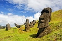 CHILE -FEBRUARY 6: Moais in Rapa Nui National Park on the slopes of Rano Raruku volcano on Easter Island, Chile. Photo by Shutterstock