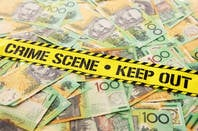 Australian money at a crime scene