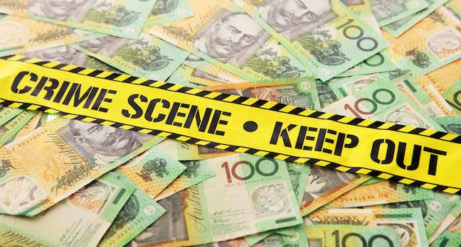Australian money at a crime scene