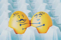 Two eggs hugging couple arranged in carton