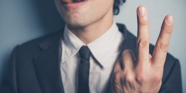 Two fingers, photo via Shutterstock