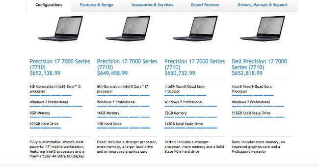 Dell pricing page