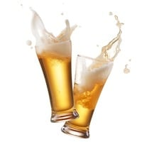 Two beer glasses clash and splash frothy beer into the air. Cheers! Photo by Shutterstock