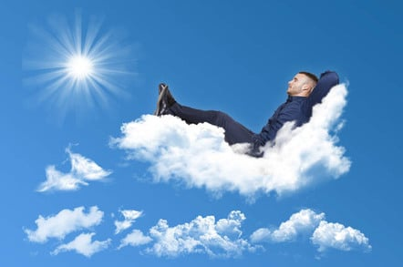 Man relaxes, stretches out, outs his feet up on a cloud.... Fun but hammy stock pic. Photo by Shutterstock