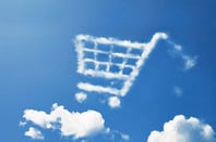 Cloudy shopping trolley in the sky (representing cloud sales/procurement). Photo by Shutterstock