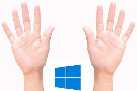 Ten fingers with windows flag