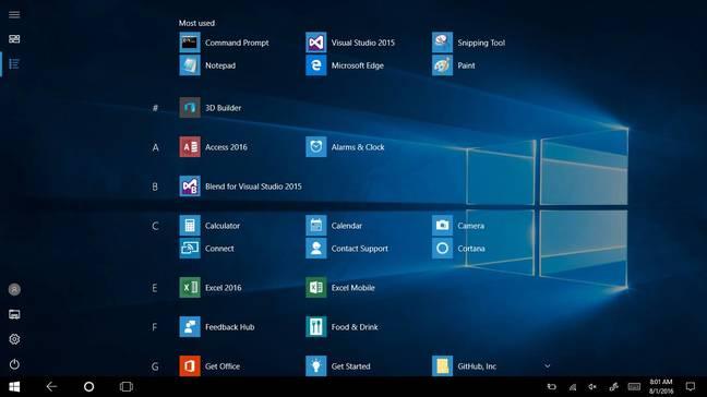Windows 10 Tablet Mode has a full-screen All Apps Start menu