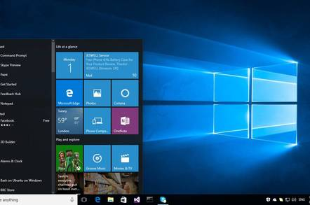 Windows 10 Anniversary Update, showing the new three-column Start menu