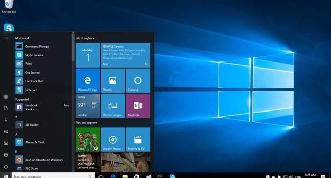Windows 10 Anniversary Update, showing the new three-column Start menu