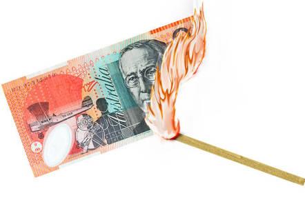 Australian $20 burning