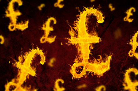 British sterling in flames