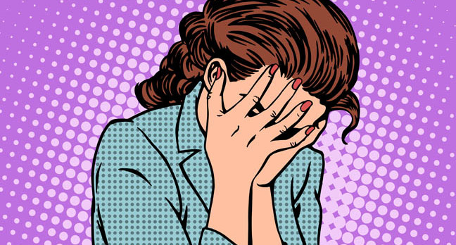 Pop art-style illustration: Woman holds head in despair. Illustration via Shutetrstock