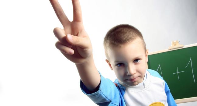 Boy two fingers, photo via Shutterstock