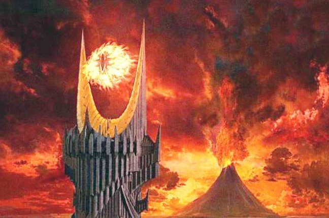 Eye of Sauron with Mount Doom in the background. Still from the film version of JRR Tolkien's Lord of the Rings. Copyright New Line Cinema