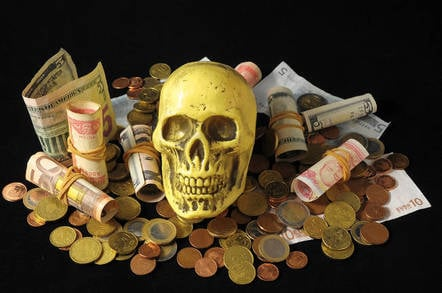 A skull atop money