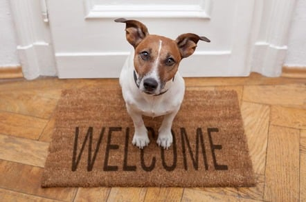 Dog waits on a Welcome mat. photo by sHutterstock