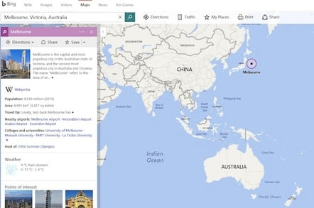 Bing Melbourne Mistake